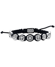 He Rocks Black Cord Bracelet featuring Star, Fire Heart, Anchor, and Cross In Stainless Steel