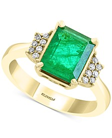 EFFY® Emerald (2-1/5 ct. t.w.) & Diamond (1/10 ct. t.w.) Statement Ring in 14k Gold