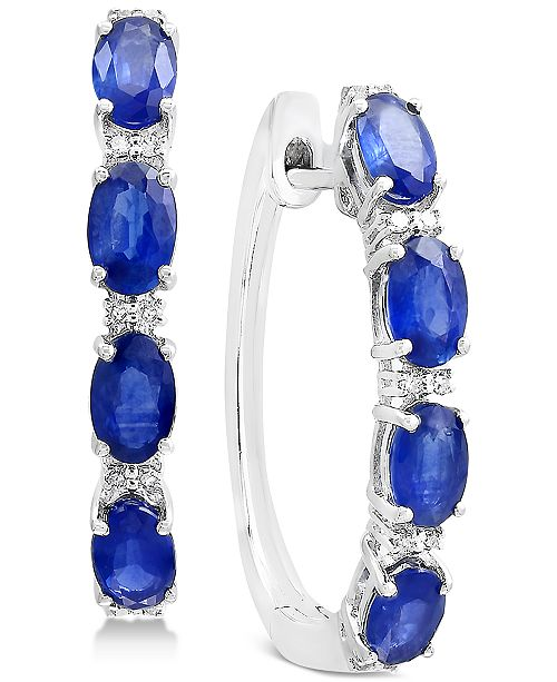 EFFY Collection EFFY® Sapphire (2-1/2 ct. t.w.) & Diamond Accent Hoop Earrings in 14k White Gold