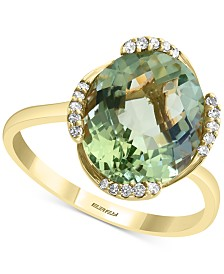 EFFY® Green Amethyst (4-1/3 ct. t.w.) & Diamond (1/10 ct. t.w.) Statement Ring in 14k Gold