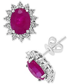 EFFY® Certified Ruby (2-7/8 ct. t.w.) & Diamond (1/2 ct. t.w.) Stud Earrings in 14k White Gold