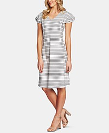 Puff-Sleeve Striped Dress