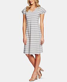 CeCe Puff-Sleeve Striped Dress