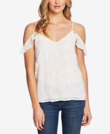 CeCe Embroidered Off-The-Shoulder Tank Top