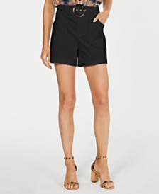 I.N.C. Petite Solid Buckle Shorts, Created for Macy's