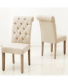 Natalie Roll Top Tufted Linen Fabric Modern Dining Chair, Set of 2