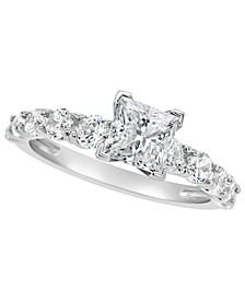 Certified Princess Cut Diamond Engagement Ring (2 ct. t.w.) in Platinum