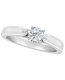 Certified Round Diamond Solitaire Engagement Ring (1/2 c.t. t.w.) in Platinum