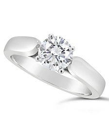 Certified Round Diamond Solitaire Engagement Ring (1 ct. t.w.) in Platinum