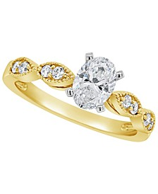 Certified Oval Diamond Engagement Ring (7/8 ct. t.w.) in 14k White Gold, Rose Gold, or Yellow Gold