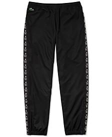 Men's Tapered-Fit Croc-Taped Diamond Taffeta Track Pants