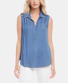 Karen Kane Sleeveless Chambray Shirt