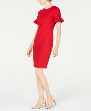 74c0b606 Calvin Klein Flutter-Sleeve Sheath Dress In Red | ModeSens