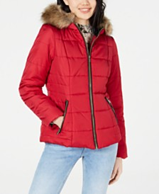 Celebrity Pink Juniors' Puffer Coat with Faux Fur Trim Hood