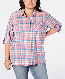 Plus Size Plaid Roll-Tab Top