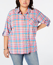 Tommy Hilfiger Plus Size Plaid Roll-Tab Top