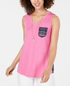 Style & Co Printed Colorblocked Top, Created for Macy's