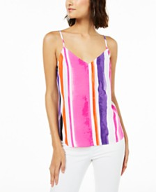 Bar III  Sleeveless Printed V-Neck Top, Created for Macy's