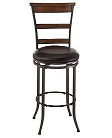 "Cameron 21.62"" Swivel Ladder Back Counter Height Stool"