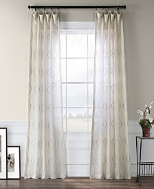 """Exclusive Fabrics & Furnishings Suez Embroidered Sheer 50"""" x 84"""" Curtain Panel"""