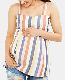 A Pea In The Pod Maternity Striped Babydoll Blouse