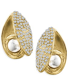 ZAXIE Pave Shell Gold Button Earrings