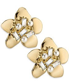 ZAXIE Petal Perfect Pearl Accented Floral Stud Earrings