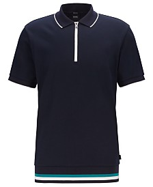 BOSS Men's Paras 02 Regular-Fit Zip-Neck Cotton Polo Shirt