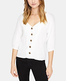 Button-Front Peasant Blouse