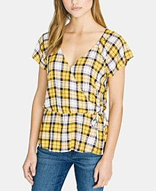 Sunstone Faux Wrap Plaid Top
