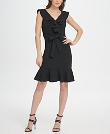 Ruffle V-Neck and Hem Dress
