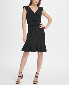 DKNY Ruffle V-Neck and Hem Dress