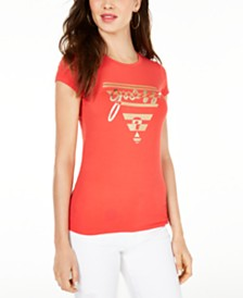 GUESS Crew-Neck Metallic-Graphic T-Shirt