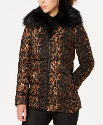 Leopard-Print Puffer Coat with Faux-Fur-Collar