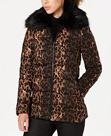 Tahari Leopard-Print Puffer Coat with Faux-Fur-Collar