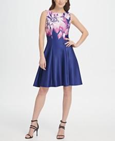 DKNY Scuba Floral Print Fit & Flare Dress