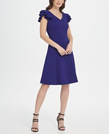 DKNY Ruffle Sleeve V-Neck Fit & Flare Dress
