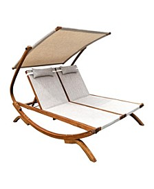 Double Reclining Lounge Chair with Canopy