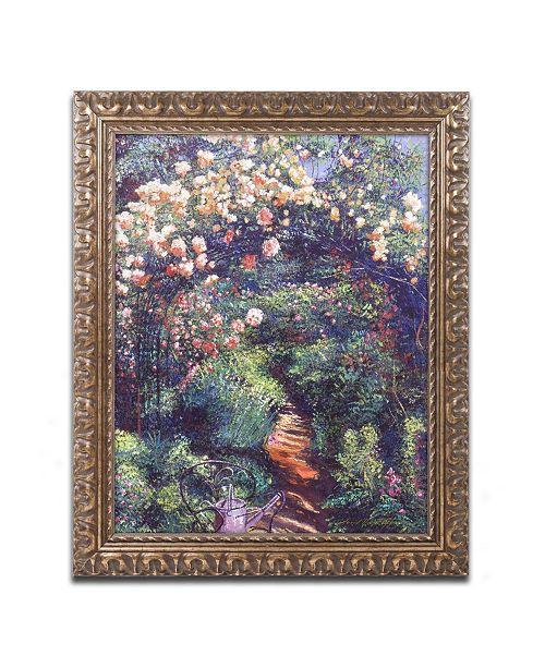 "Trademark Global David Lloyd Glover 'Rose Arbor Pathway' Ornate Framed Art - 11"" x 14"""