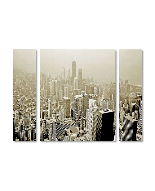 "Trademark Global Preston 'Chicago Skyline' Multi Panel Art Set Large - 41"" x 30"""