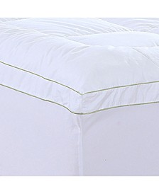 Christies Home Living Square King Quilted Accent Piping Mattress Pad with Fitted Mattress Cover