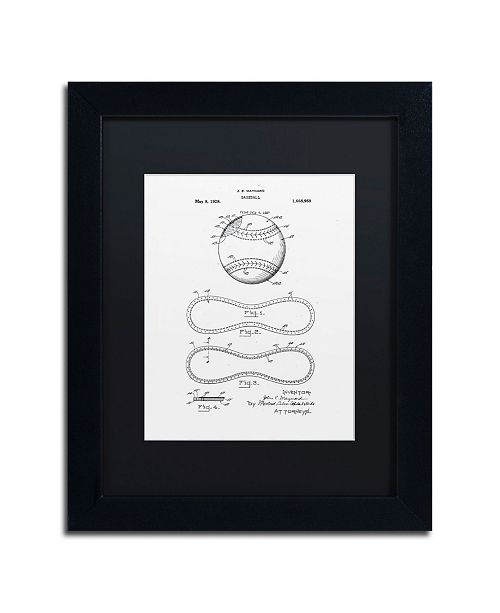"Trademark Global Claire Doherty 'Baseball Patent 1928 White' Matted Framed Art - 11"" x 14"""