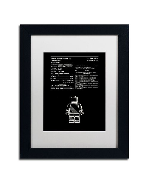 "Trademark Global Claire Doherty 'Lego Man Patent 1979 Black' Matted Framed Art - 11"" x 14"""