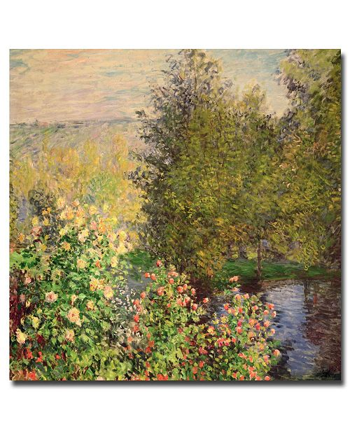 "Trademark Global Claude Monet 'Corner of the Garden at Montgeron, 1876' Canvas Art - 18"" x 18"""