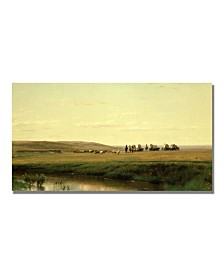 "Thomas Worthington Whittredge 'A Wagon Train on the Plain' Canvas Art - 24"" x 16"""