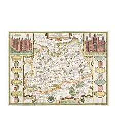 """Jodocus Hondius 'Map of Surrey' Canvas Art - 14"""" x 19"""""""