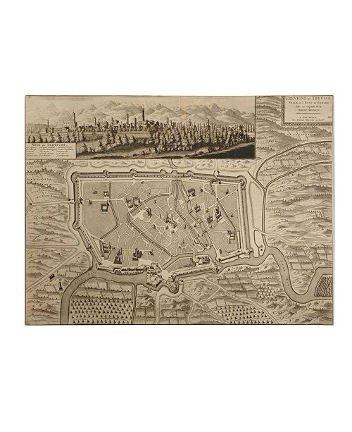 "Trademark Global Pierre Mortier 'Map of Treviso 1704' Canvas Art - 32"" x 24"""