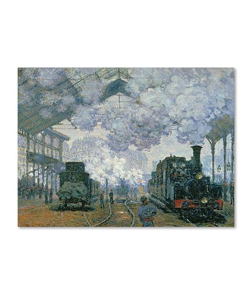 "Trademark Global Claude Monet 'Gare Saint-Lazare Arrival of a Train' Canvas Art - 14"" x 19"""