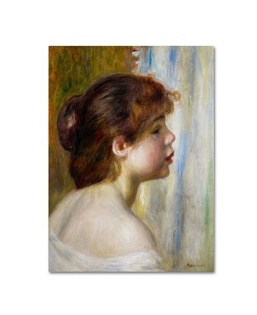 """Trademark Global Pierre Auguste Renoir 'Head of a Young Woman' Canvas Art - 47"""" x 35"""""""