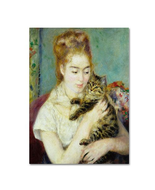 "Trademark Global Pierre Auguste Renoir 'Woman With a Cat 1875' Canvas Art - 47"" x 35"""